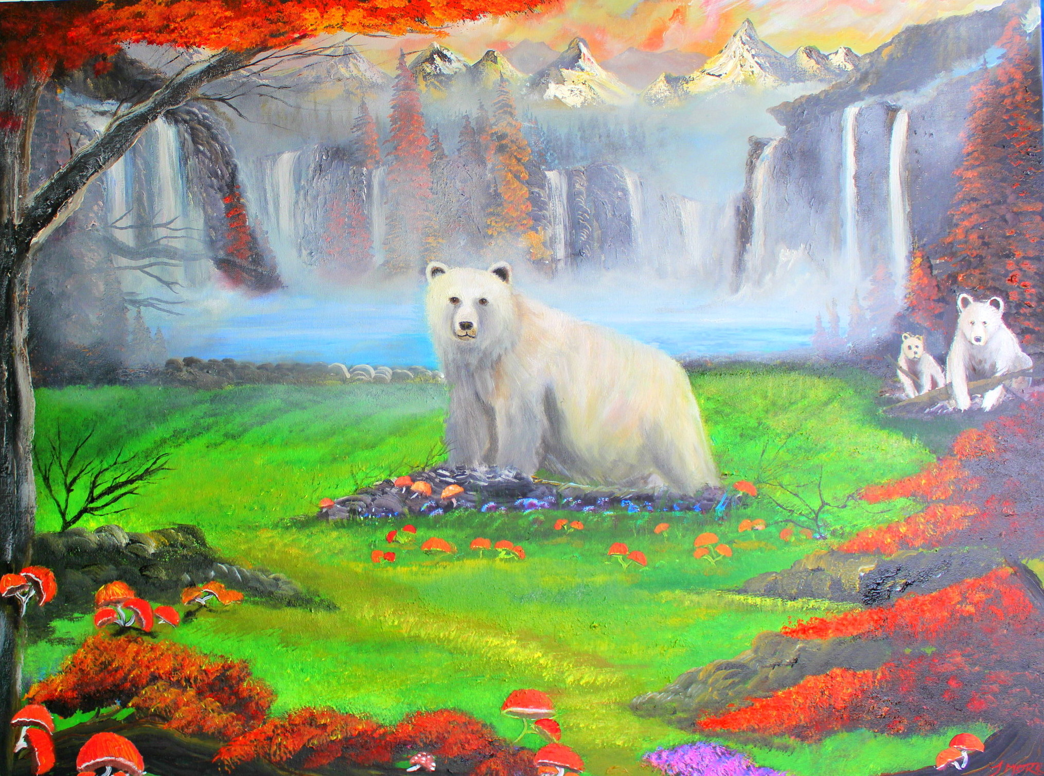 The Spirit Bear Mountainscape/wilderness painting