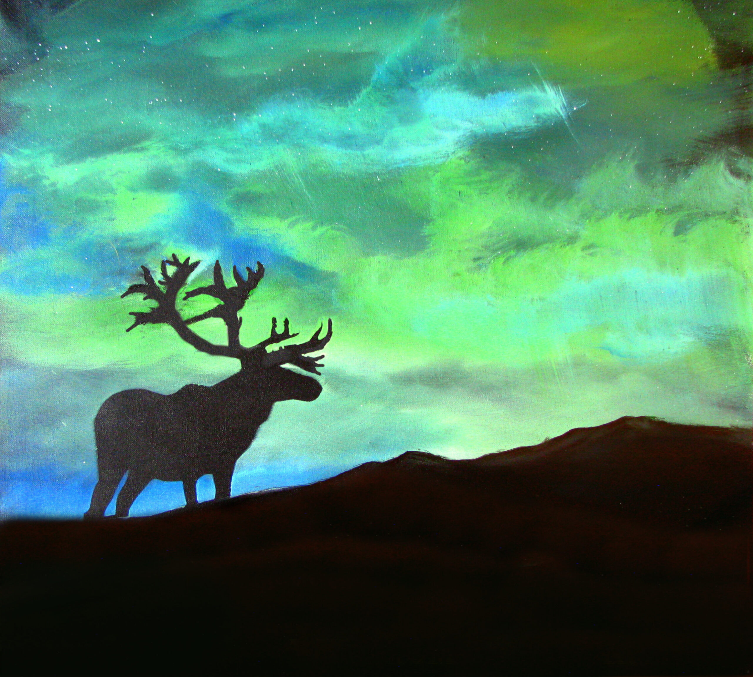 Buck in the northern lights – Original painting