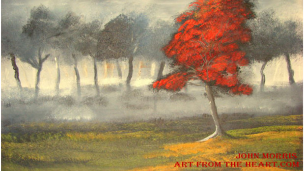 The Red Blossom Tree – Red Blossom tree painting SOLD